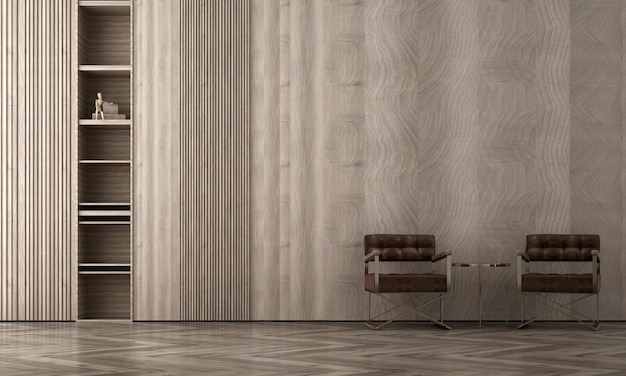 Interni moderni e accoglienti del salone mock up, priorità bassa della parete di legno, stile scandinavo, rendering 3d