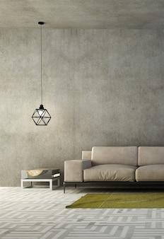 Design interno moderno accogliente soggiorno bianco e priorità bassa di struttura del muro di cemento