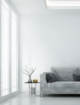 Moderno e accogliente soggiorno bianco interior design e parete texture di sfondo