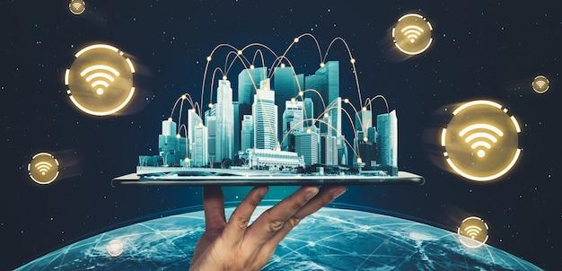 La moderna comunicazione creativa e la rete internet si collegano in una città intelligente