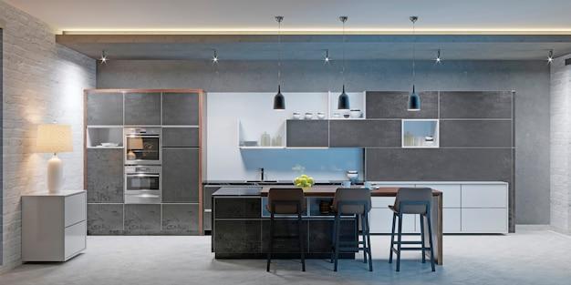 Interiore della cucina moderna scura con mobili e attrezzature. rendering 3d