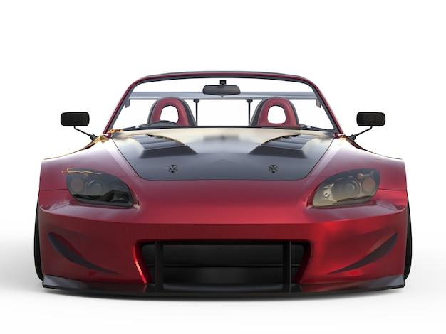 Convertibile di sport moderno rosso scuro. auto aperta con tuning. rendering 3d.