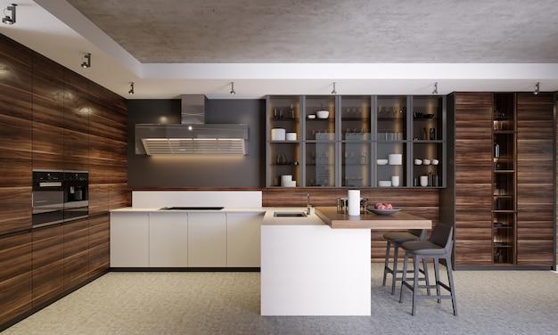 Interiore della cucina contemporanea in legno scuro moderno con vetrine, mobili e attrezzature. rendering 3d
