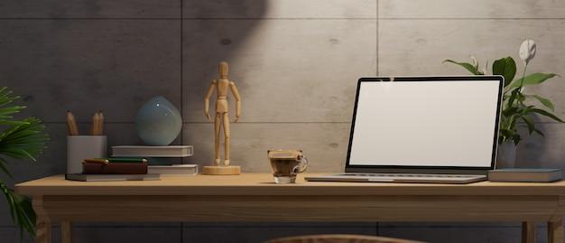 Scrivania interna moderna per computer sul posto di lavoro scuro con mockup di schermo vuoto per laptop sotto luce 3d