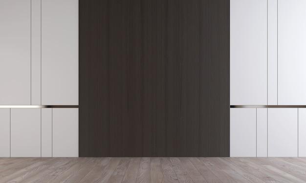 Arredamento moderno interior design di accogliente soggiorno vuoto e struttura della parete bianca, rendering 3d
