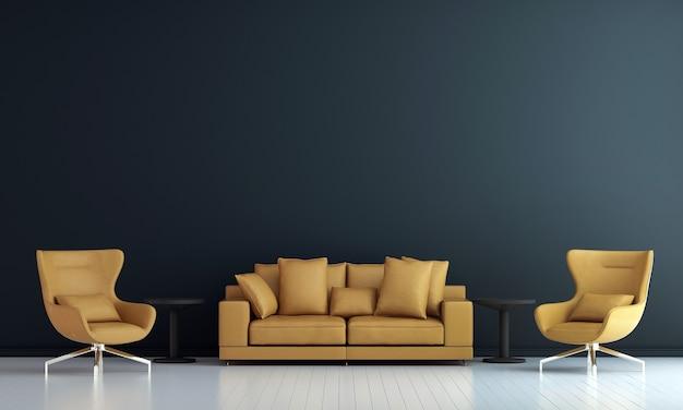 Arredamento moderno e interni del soggiorno e mobili finti e sfondo blu della struttura della parete