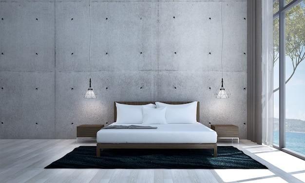 Arredamento moderno e finto interno della stanza e camera da letto e sfondo del muro di cemento