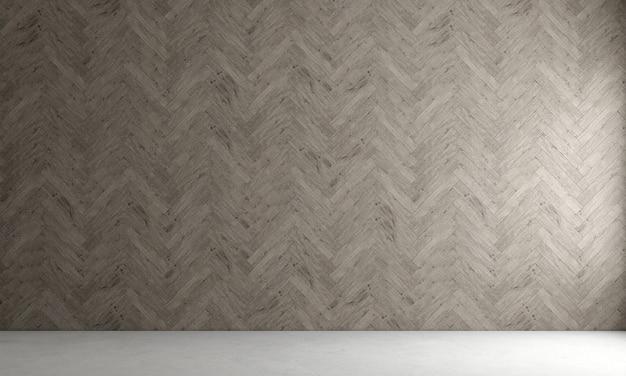 La decorazione moderna deride il design degli interni del soggiorno vuoto e della parete in legno modello sfondo rendering 3d