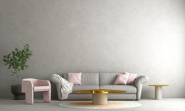 La decorazione moderna deride sul design degli interni del soggiorno e della rappresentazione 3d del fondo del modello del muro di cemento vuoto