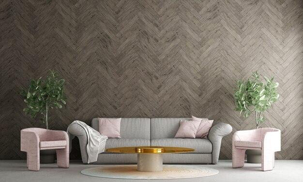 La decorazione moderna deride il design degli interni del soggiorno e della parete in legno modello sfondo rendering 3d