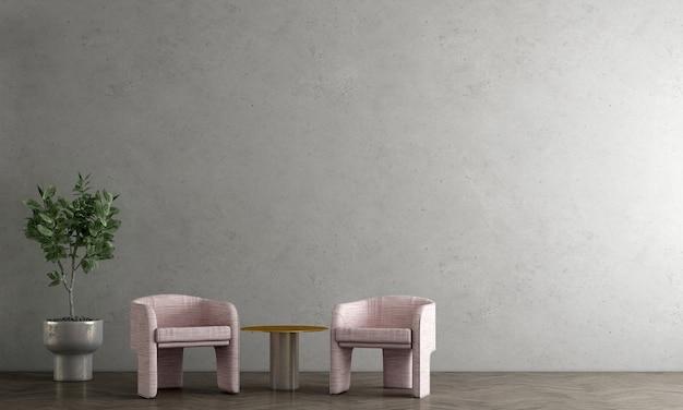 La decorazione moderna deride il design degli interni del soggiorno loft e il muro di cemento modello sfondo rendering 3d