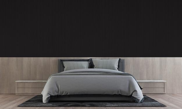 Il design moderno degli interni della camera da letto ha un tavolino in legno con parete nera, rendering 3d