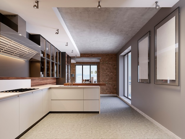 Interiore della cucina di design moderno in stile contemporaneo con mobili tecnologici ed elettrodomestici da cucina. rendering 3d.