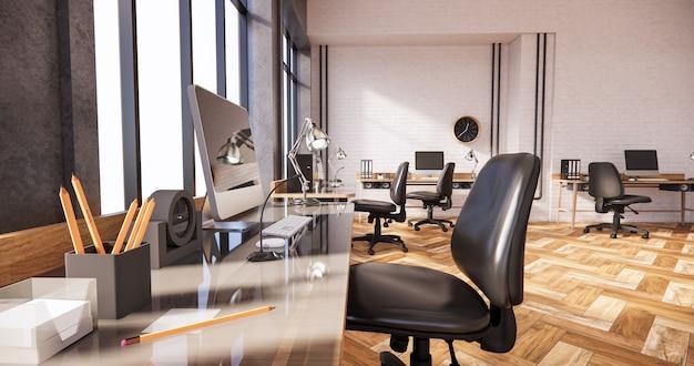 Scrivania e sedia moderne per il rendering 3d della stanza dell'ufficio