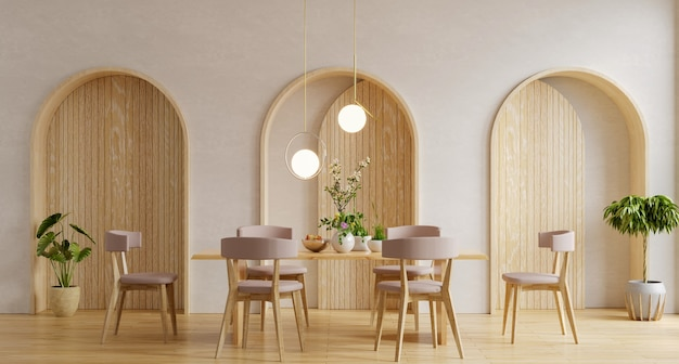 Interior design moderno della sala da pranzo con parete bianca rendering 3d