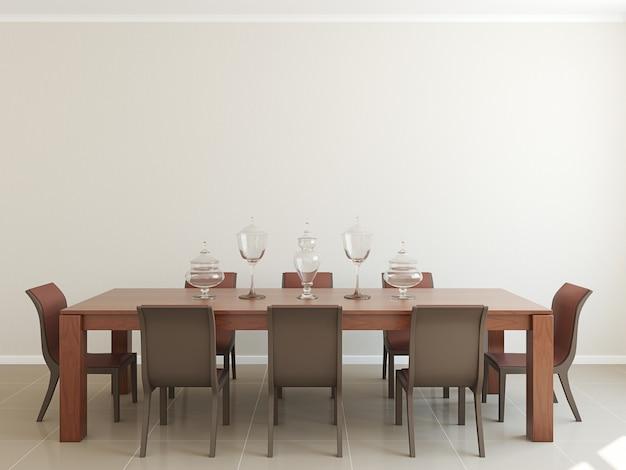 Interiore moderno della sala da pranzo per otto persone. 3d render.
