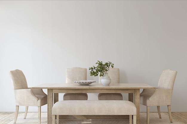 Sala da pranzo moderna. mockup interno. rendering 3d.