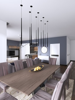 Interiore della sala da pranzo moderna con pareti viola, un tavolo in legno con sedie in pelle di design vicino, finestra e una cassettiera. rendering 3d
