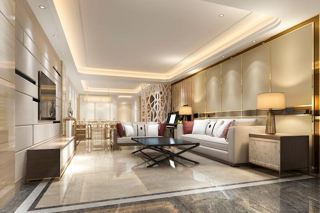 Moderna sala da pranzo e soggiorno con decorazioni di lusso