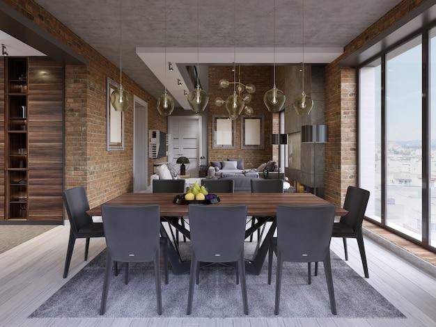 Sala da pranzo moderna con tavolo e otto sedie in un appartamento in stile loft con cucina e soggiorno. rendering 3d.