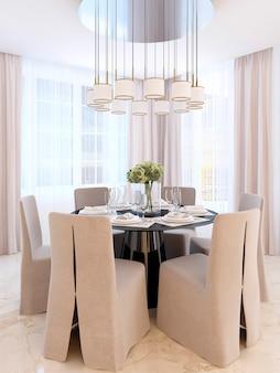 Tavolo da pranzo moderno con sei sedie. tavolo e lampadario decorati in nero su di esso. sala da pranzo art déco. rendering 3d.