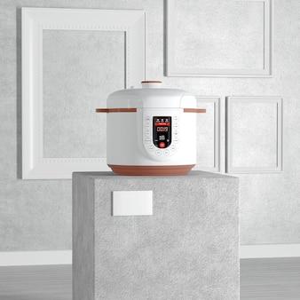 Fornello elettrico moderno multi su piedistallo, palcoscenico, podio o colonna in galleria d'arte o museo su sfondo bianco. rendering 3d