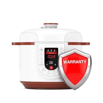 Fornello elettrico moderno multi con scudo di garanzia di protezione in metallo rosso su sfondo bianco. rendering 3d