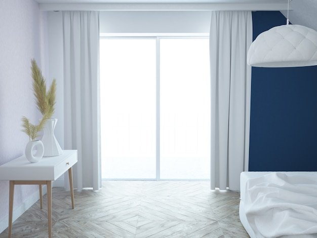 Camera da letto bianca, rosa e blu lussuosa elegante moderna