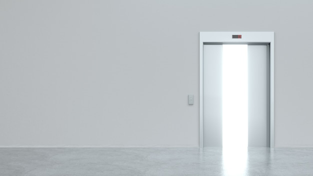 Ascensore moderno con porte metalliche semiaperte