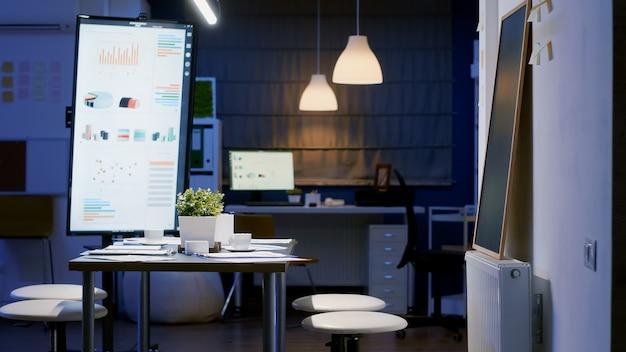 Sala riunioni dell'ufficio aziendale vuoto moderno pronto per gli uomini d'affari a tarda notte. in background sul tavolo da conferenza in piedi documenti finanziari dell'azienda con grafici economici