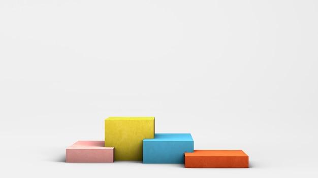Piedistalli colorati vuoti moderni su fondo bianco per visualizzare vari prodotti copia spazio