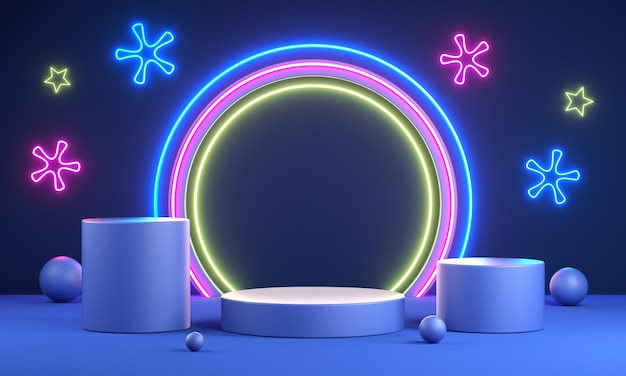 Display vuoto moderno neon led party cerebrate set. rendering 3d