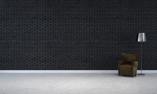 Moderna cornice vuota mock up design interno e soggiorno e decorazione di sfondo muro di mattoni neri e divano con lampada da terra rendering 3d