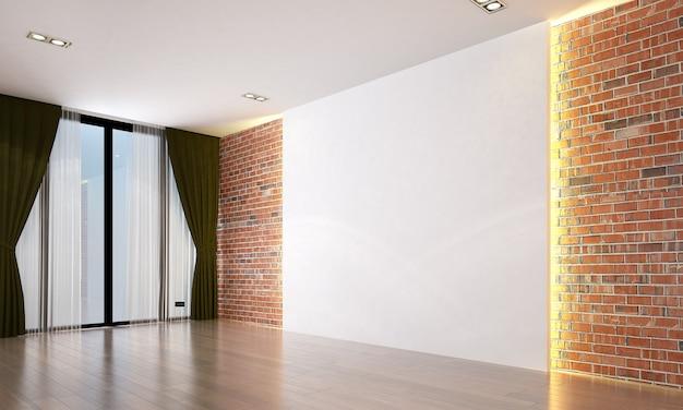 Salone vuoto moderno e interior design del fondo di struttura della parete blu