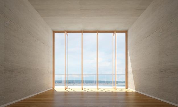 Interior design moderno soggiorno vuoto e priorità bassa di struttura del muro di cemento