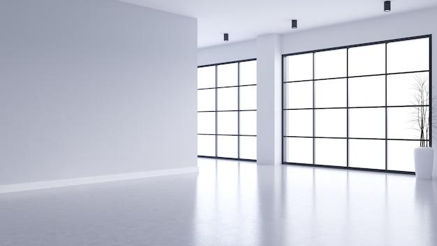 Interno vuoto moderno del salone, parete bianca e pavimento di calcestruzzo con la finestra nera della struttura