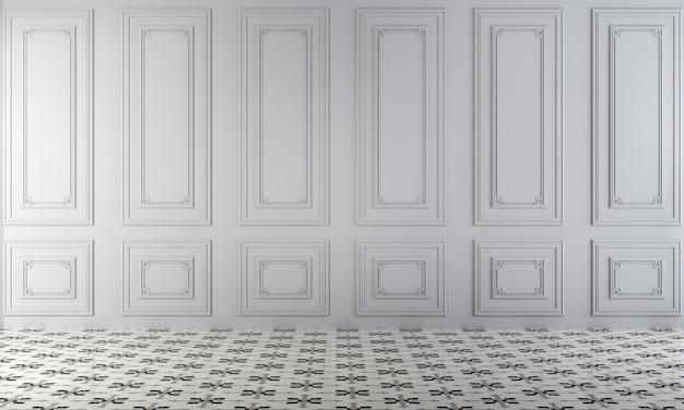 Salone vuoto moderno e rendering 3d di interior design del fondo di struttura della parete bianca
