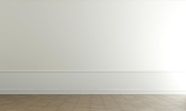 Salone vuoto moderno e interior design del fondo di struttura della parete bianca