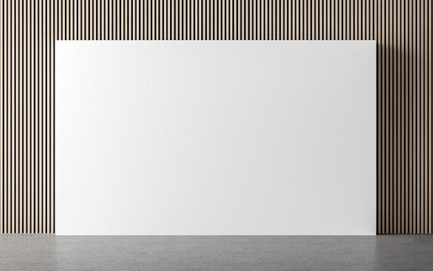 Moderna stanza vuota interna 3d render ci sono decorare la parete con motivo in legno verticale vertical