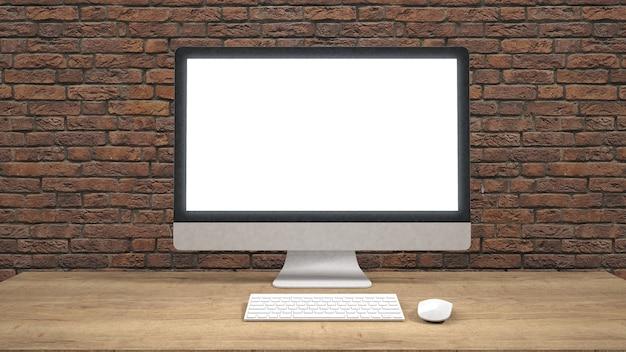 Moderno monitor per computer a schermo piatto. / rendering 3d