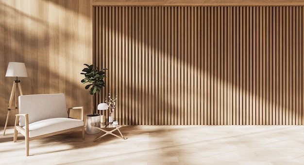 Arredato moderno design degli interni con parete in legno
