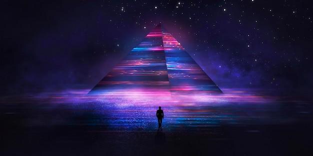 Moderno paesaggio notturno fantasy futuristico con isole astratte e cielo notturno con galassie spaziali