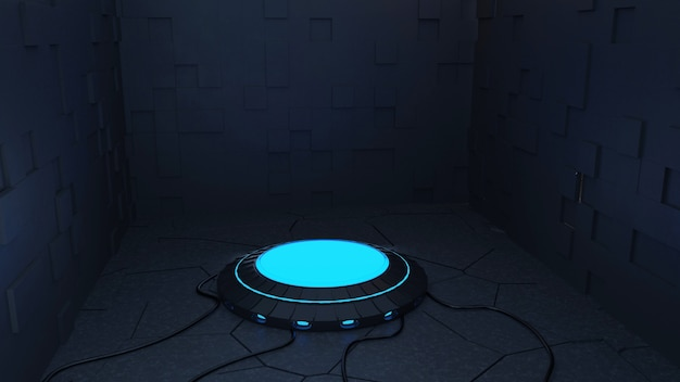 Sfondo futuristico moderno di fantascienza foto gratis con rendering 3d al neon blu.