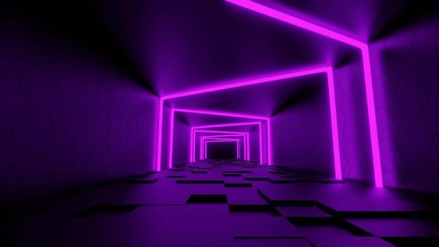 Foto gratis di sfondo futuristico moderno di fantascienza con rendering 3d al neon viola.