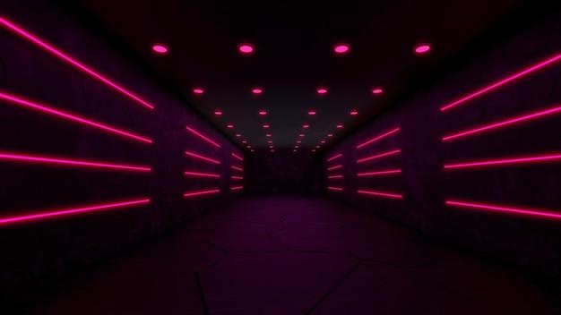 Foto gratis di sfondo futuristico moderno di fantascienza con rendering 3d al neon rosso.