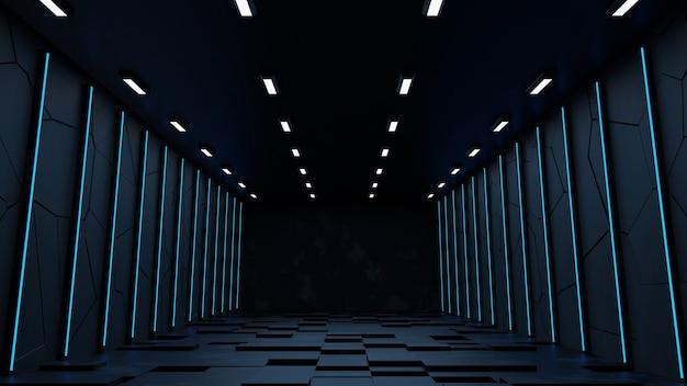 Sfondo futuristico moderno di fantascienza foto gratis con rendering 3d al neon bianco e blu.