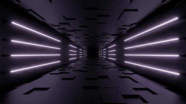 Foto gratis di sfondo futuristico moderno di fantascienza con rendering 3d al neon bianco.