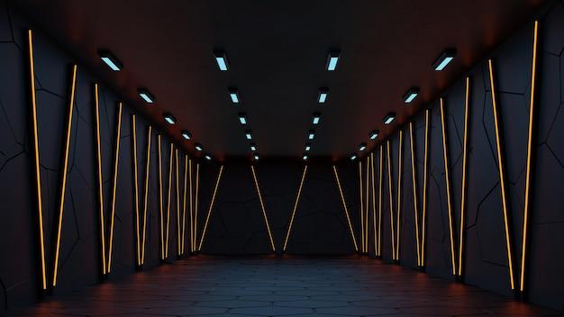 Sfondo futuristico moderno di fantascienza foto gratis con rendering 3d al neon bianco e giallo.