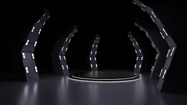 Un palcoscenico moderno e futuristico con rendering 3d di luci al neon