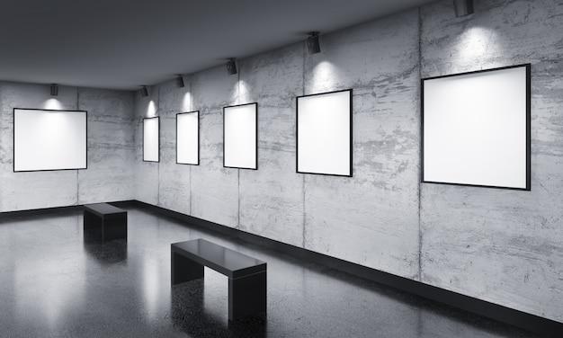 Moderna sala della galleria con mostra di poster